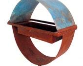 Birdfeeder Circular Steel & Copper Bird Feeder Freestanding unique modern bird feeder