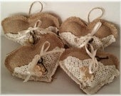 Burlap Heart Stuffed With Buttons, Doily And A Key Shabby Chic Natural Eco Friendly Wedding Valentine's Day