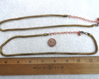 "2 Brass Box Chain Necklaces, 20"" with Extenders"