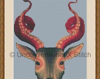 Deer Octopus cross stitch pattern - Strange Dear modern counted cross stitch pattern