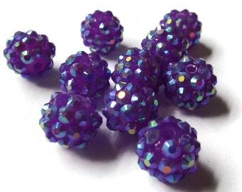 12mm Purple Resin Rhinestone Beads
