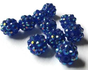 12mm Royal Blue Resin Rhinestone Beads