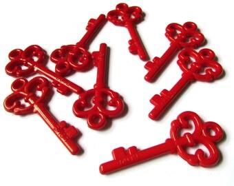 Plastic Key Charm Red Skeleton Key Charms Love Key Pendant Key to Your Heart Acrylic Key Beading Supplies