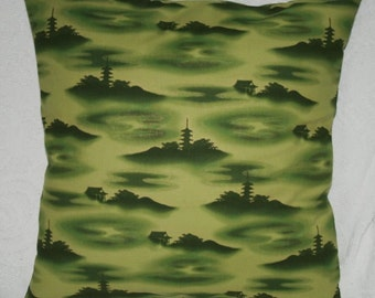 """Decorative Throw Pillow Cover - Oriental Toile in Forest Green - Robert Kaufman Oriental Traditions 6  - 22"""" (15-268**)"""