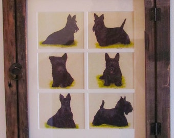Vintage Collectible Dog Cards In Country Style Frame Black Scotties
