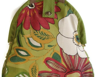 Handmade Tapestry Backpack/ Book bag/ Project bag/ Knitting Bag/Mini-Mary Poppins-RAIN FOREST