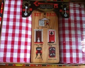 1970s Key rack plus two red check dish towels vintage new in box