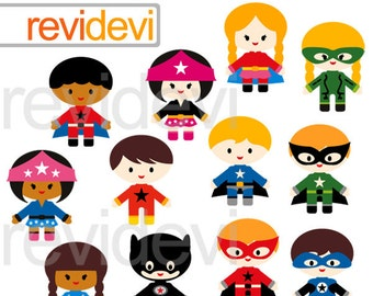 Superhero clipart boys girls, commercial use clip art, digital images, cute superhero kids, instatn download