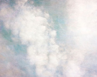Cloud Photography, White Turquoise Wall Decor, Sky Landscape, Nature Photography, Fine Art Photography