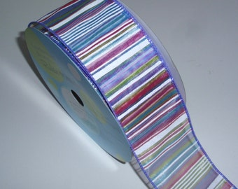 Purple stripe wired ribbon - 25 yard spool - 2 1/2 inches wide