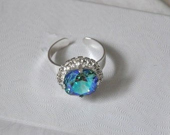 Blue ring, Swarovski Ring, Turquoise Crystal, Statement Ring, Silver, Adjustable Ring, Square Ring