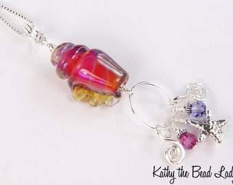 Lampwork Necklace - Clio Fuchsia Conch Seashell Lampwork Sterling Silver Wire Wrapped Necklace - KTBL