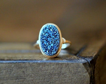 Druzy Oval Gold Ring , Blue Statement Gemstone Ring , Gold , Sterling Silver , Rose Gold , Bezel Wrapped Gift Ideas - Cobalt