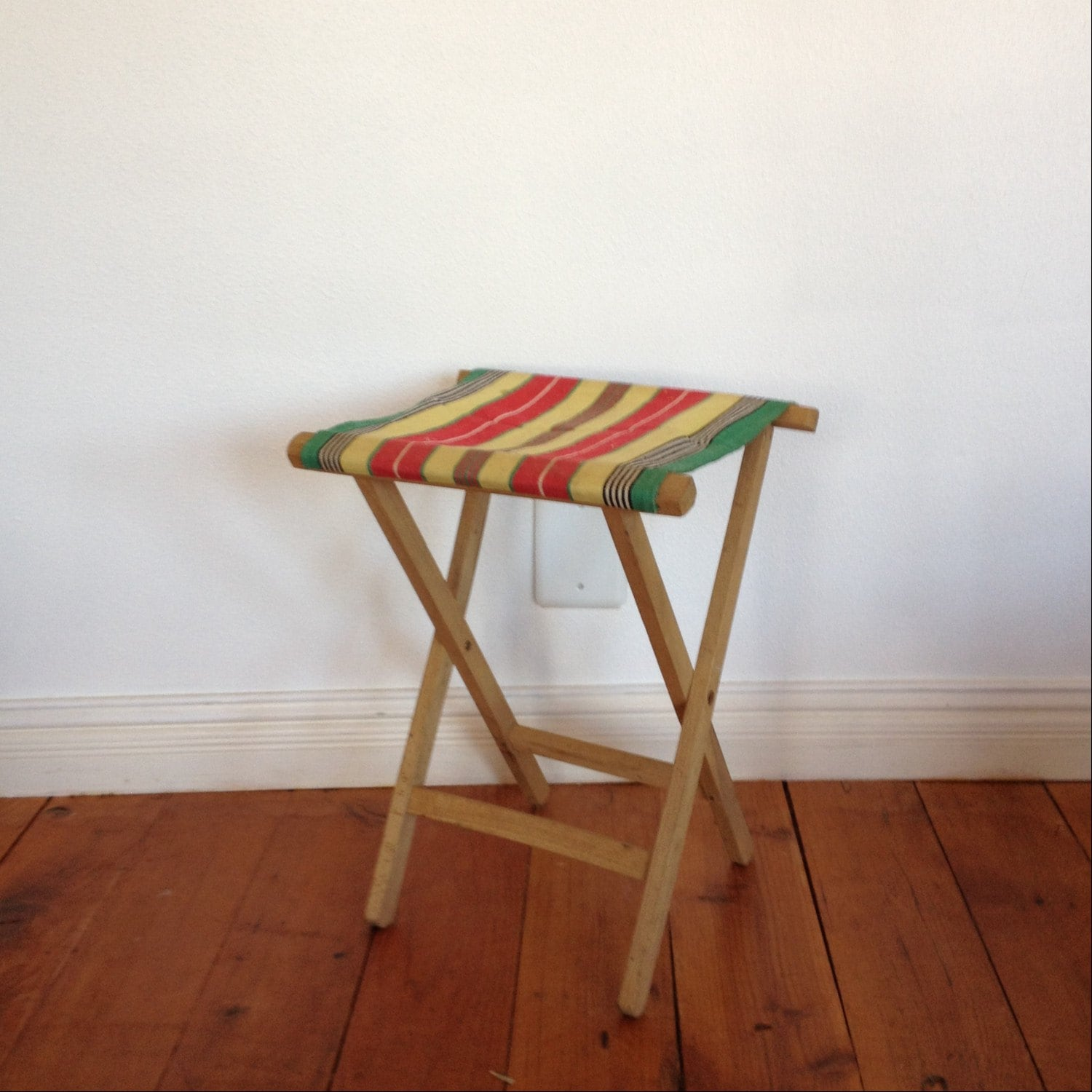 Superb img of Vintage Folding Camp Stool : Wood Stool Striped by solsticehome with #462012 color and 1500x1500 pixels