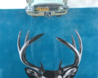 Original Artwork- acrylic mixed media with poured epoxy resin- Deer in Headlights