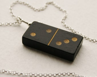 2 3 Domino Charm Necklace Sterling Silver Vintage Wooden Domino