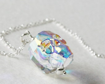 Crystal Skull Charm Necklace Sterling Silver
