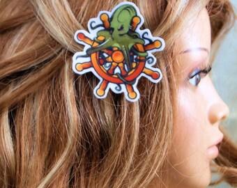 Octopus and Captains Wheel Nautical Hair Clip MTCoffinz