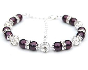 Dark Plum Pearl Rhinestone Bridesmaid Bracelet Eggplant Bling Bracelet