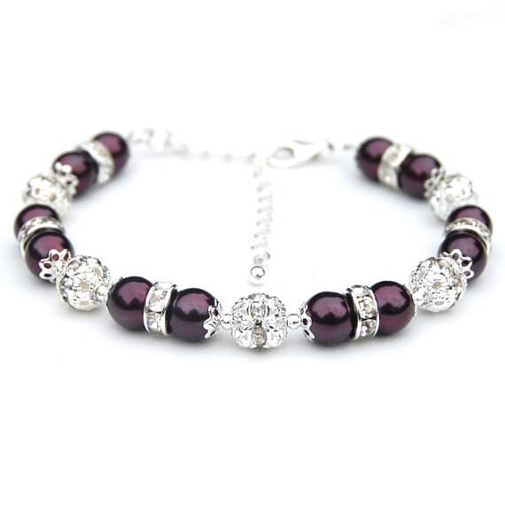 Dark Plum Pearl Rhinestone Jewelry, Bridesmaid Bracelet, Bling Bracelet, Aubergine Eggplant Wedding Jewelry