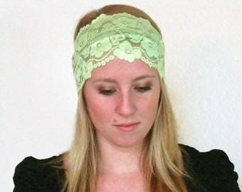 Lace Headband / SALE / Green Wide Lace Headband / Stretchy Headband Scalloped Lace Hairband Hair Accessories Boho Headband