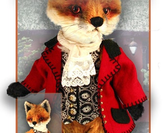 Fox Jacket Pattern,  PDF Riding Jacket, Vest, Stock, Teddy Bear Clothes, Doll Clothes Pattern, Plush Animal clothes, Fox Clothing