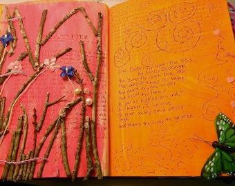 Original Mixed Media/Altered Art Book Journal/Where The Butterflies Are