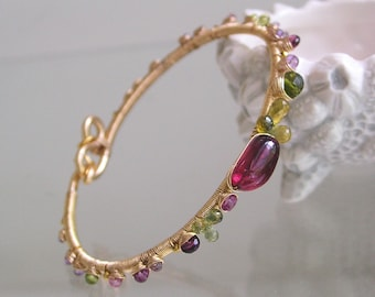 Tourmaline Gold Filled Bracelet, Sapphire Wire Wrapped Bangle, Lilac, Raspberry, Vesuvianite, Hand Wrought, Stackable, Original Design