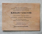 Real Wooden Wedding Invitation, Formal Fête Black Tie