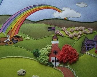 Vintage Fabric Folk Art Nursery Art Rainbow Church Countryside Textile Bright and Cheerful