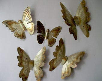 Brass Butterfly 3D Wall Hanging Set of Five Home Decor