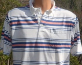 vintage 80s polo golf shirt white blue striped hipster Medium par four soft