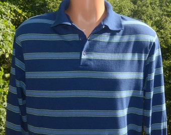 vintage 70s polo GOLF shirt long sleeve navy blue green stripes collared Medium soft thin
