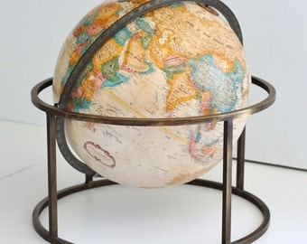 Vintage Desk Top World Globe by Replogle in the Manner of Paul Mccobb  , circa 1970