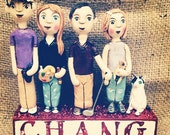 Family Portrait of FOUR clay folk art sculpture on letter blocks based on your photos