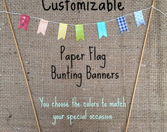 Customizable Paper Bunting Banner for your Rustic Wedding Birthday or Special Occasion