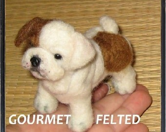 Custom Pet Portrait / Your Pet in Miniature / Cute / Handmade Poseable Art Sculpture Personalized gift / ex  Bulldog puppy animated style