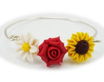 Daisy Rose Sunflower Three Flower Bracelet - Flower Garden Jewelry