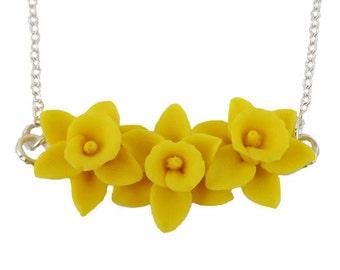 Daffodil Cluster Necklace - Daffodil Garden Jewelry, March Birthday Birth Flower, Spring Flower Jewelry