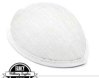 1 - White - Teardrop Hat Base - Hat Form - Hat Foundation -  Sinamay Straw - Fascinator - Millinery