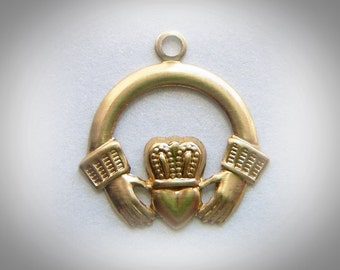 BRASS 10 Irish Claddagh Brass Charms - Stampings - Jewelry Findings (G) #