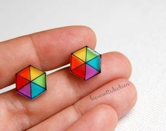 Hexagon stud earrings, geometrical rainbow posts, kites studs, illustrated jewelry