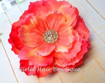 "Coral Hair Clip Peach Flower Clip Pink Flower Clip Orange Hair Clip 5"" Peony Hair Clip Pink Mum Rhinestone Wedding Bridesmaid Flower Girl"