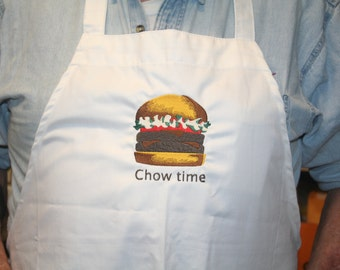 """Apron NEW BBQ Apron for Father's Day  Embroidered Hamburger """"Chow Time"""" Chef Apron, Kitchen Wear, BBQ Wear, Summer Food, Picnic,by Sewbusy12"""