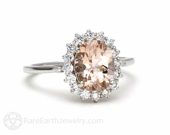 Morganite Engagement Ring Peach Morganite Ring Oval Halo Cluster 14K or 18K Gold Unique Engagement Peach Gemstone Ring