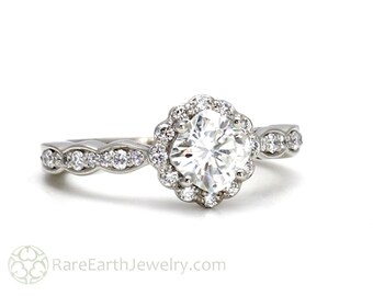 Platinum Moissanite Diamond Halo Engagement Ring Cushion Cut Conflict Free Forever Brilliant Moissanite Ring