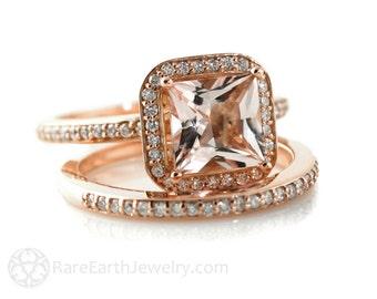 Rose Gold Morganite Engagement Ring & Wedding Band Princess Diamond Halo Morganite Ring 14K or 18K Gold