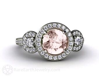 Morganite Engagement Ring 3 Stone Round Diamond Halo Morganite Ring 14K or 18K Gold Custom Engagement Ring
