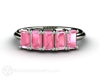 Pink Spinel Ring Emerald Pink Spinel Band Anniversary Band Stacking Ring Wedding Ring Gemstone Ring