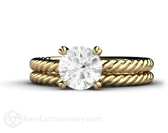 Moissanite Solitaire Engagement Ring Wedding Set Forever One Moissanite Rope Twist Solitare 14K or 18K Gold or Platinum